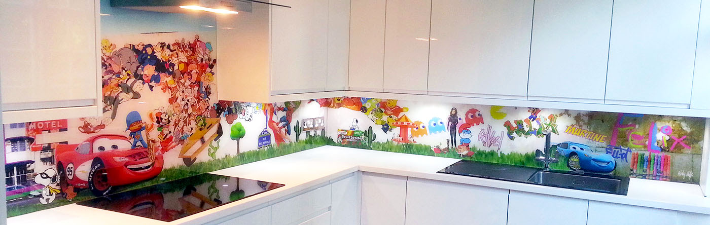Cartoon crazy Bespoke Glass Splashback