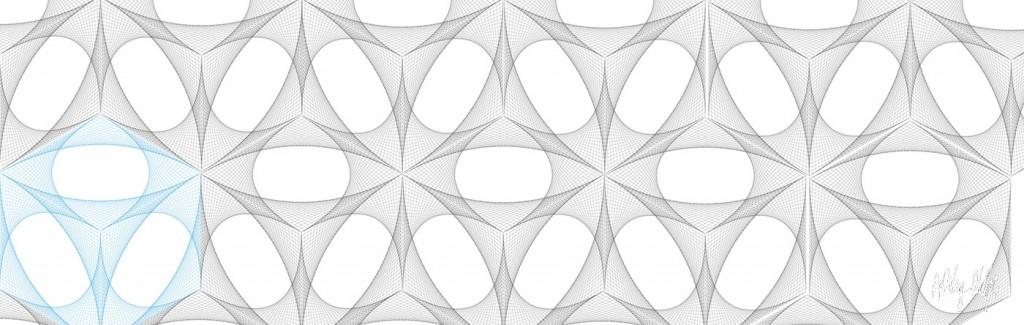 Hexagon curve sticth Glass Splashback