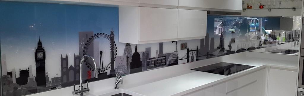 London skyline with blue gradient printed glass splashback