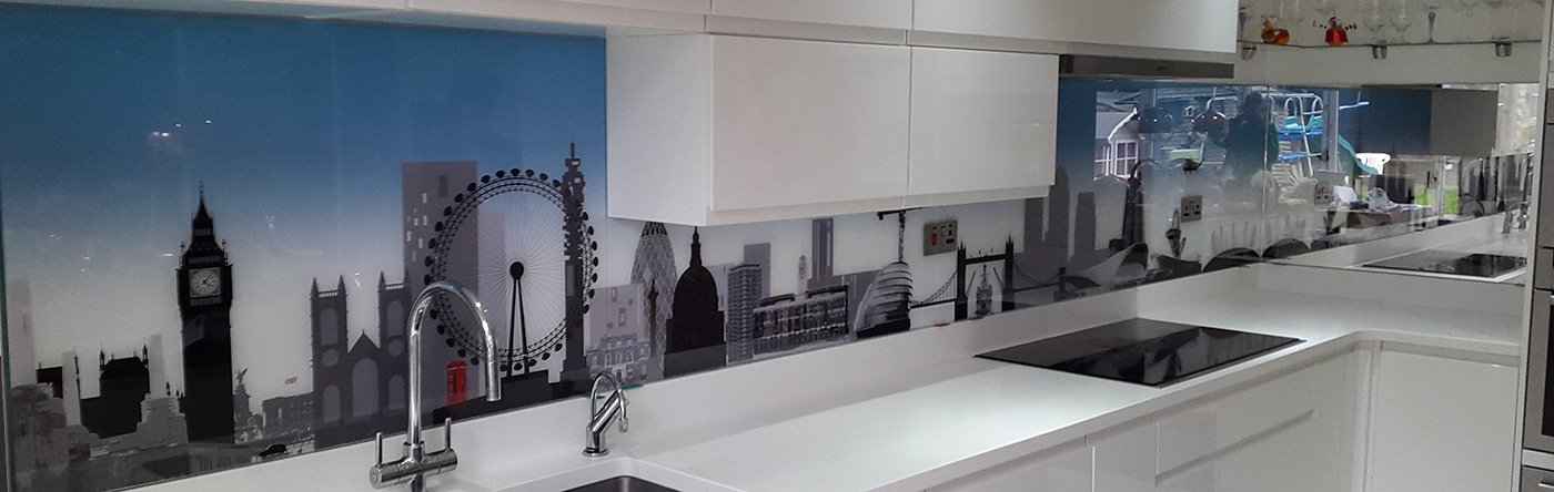 London skyline with blue gradient printed glass splashback