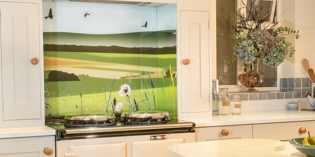 British Countryside printed splashback behind AGA