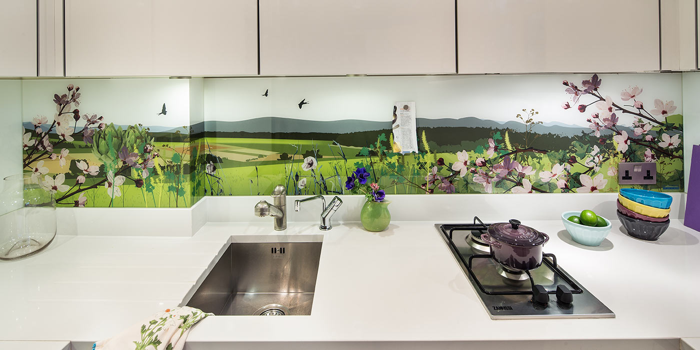 Countryside Kitchen Splashback around a corner