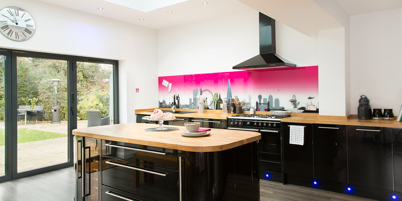 London skyline with a pink twist kitchen splashback for Country kitchen splashback ideas