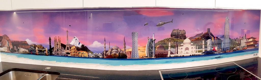World skyline bespoke splashback