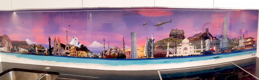 World skyline bespoke splashback