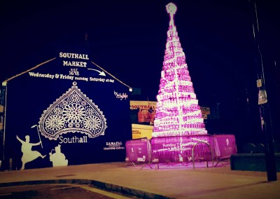 Southall-mural-and-Public Art pink-neon-xmas-tree by Ashley Phillips